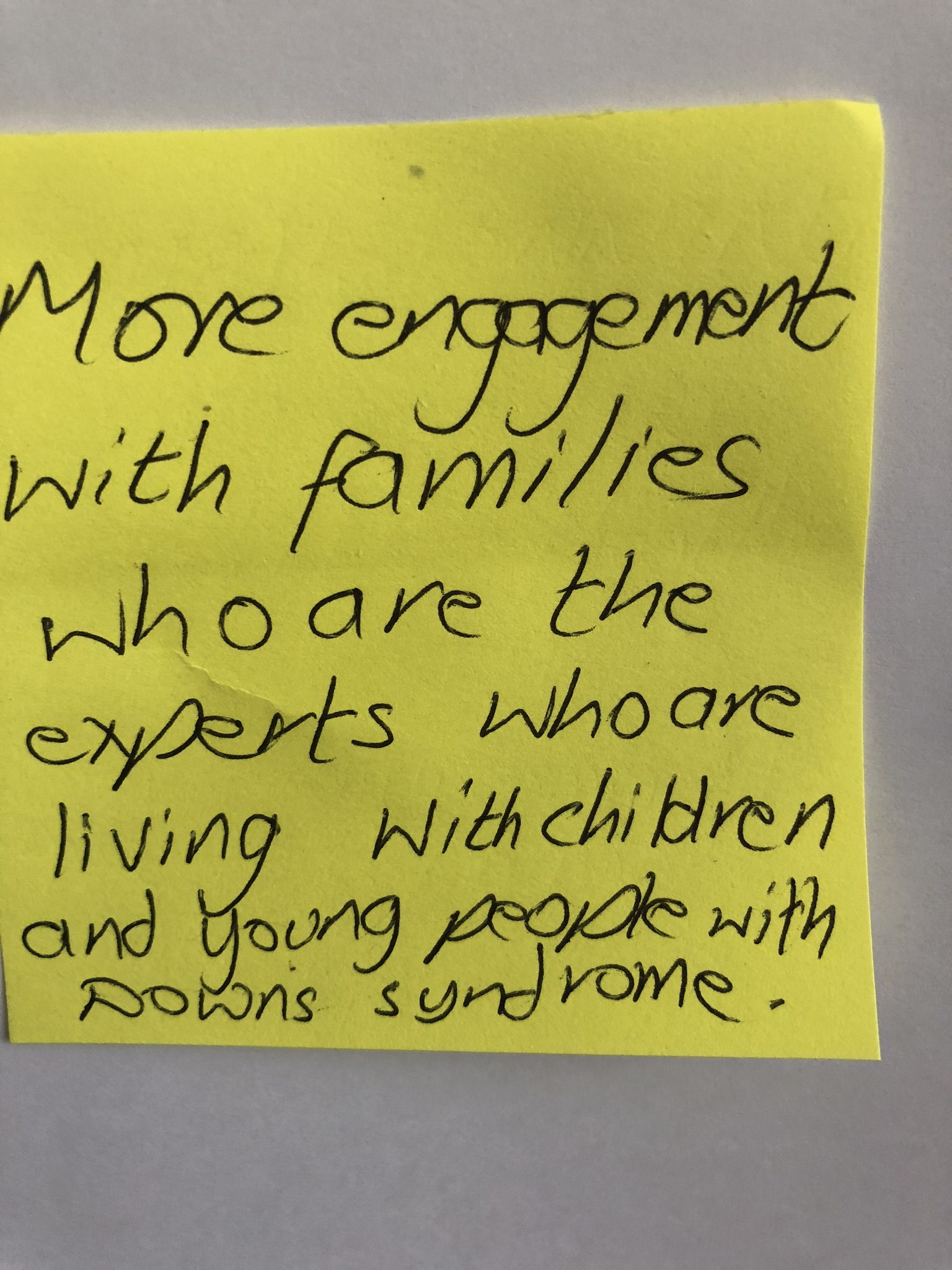 DS postit – lived experience families IMG_2611
